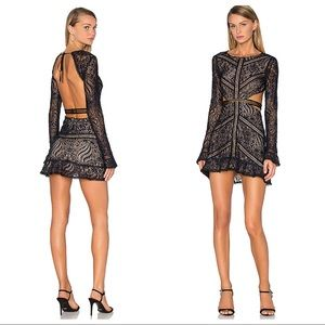NWT For Love and Lemons Emerie Black Lace Dress